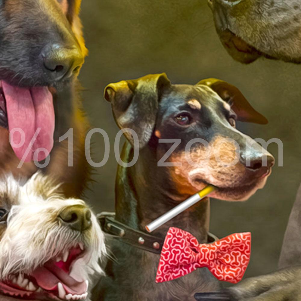 Bilardo Oynayan Köpekler Duvar Örtüsü