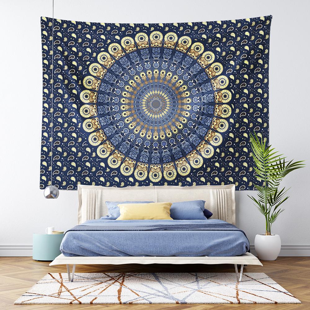 Mavi Bohem Mandala Duvar Örtüsü